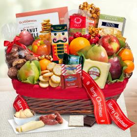AA5005X, Holiday Tidings Deluxe Gourmet Gift Basket with Merry Christmas Gift Ribbon