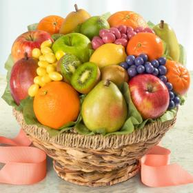Orchard Fresh Fruit And Chocolate Fruit Confections In Keepsake Fruit Bowl Basket