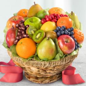 AA4070, Fresh Fruit Basket and Chocolates in Keepsake Woven Bowl