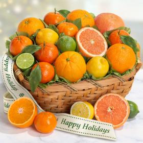 AA4072H, Happy Holidays Sweet Citrus Fruit Gift Basket