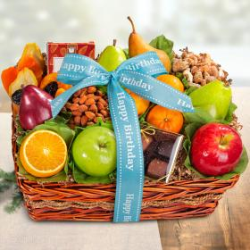 AA4094B, Happy Birthday Orchard Delight Fruit and Gourmet Basket