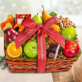 AA4094C, Congratulations Orchard Delight Fruit and Gourmet Basket