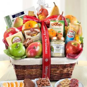 AA4102X, Merry Christmas Abundance Classic Fruit Basket