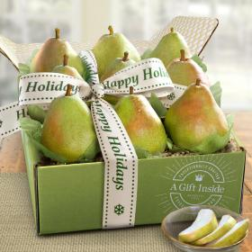 AB1006H, Happy Holidays Dessert Pears Deluxe Fruit Gift