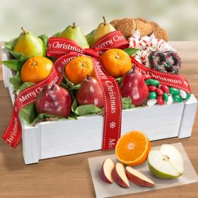 AC2085X, Merry Christmas Winter Wonderland Fruit & Treats Gift Basket Crate