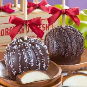 ACA1001, Dreamy Dark Chocolate Covered Caramel Apples Pair in a Wooden Gift Crate