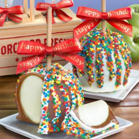 ACA1008, Happy Birthday Chocolate Covered Caramel Apples Pair in a Wooden Gift Crate