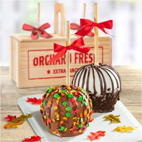ACA1014, Fall for Chocolate Covered Caramel Apples Pair in a Wooden Gift Crate