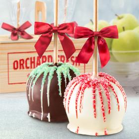 ACA1015, Holiday Chocolate Covered Caramel Apples Pair in a Wooden Gift Crate