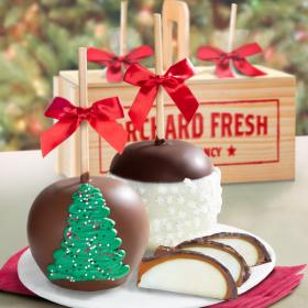 ACA1015, Holiday Chocolate Covered Caramel Apples Pair in Gift Crate
