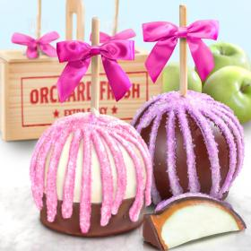 ACA1017, Spring Chocolate Covered Caramel Apples Pair in a Wooden Gift Crate