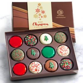 ACC1010X, Merry Christmas Deluxe Chocolate Dipped Oreos Gift Box - 12 pc