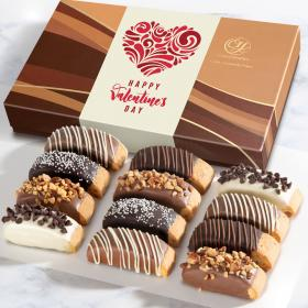 ACC1020V, 12 Happy Valentine's Day Chocolate Dipped Biscotti