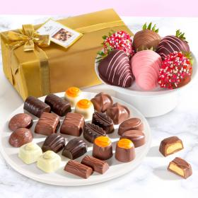 ACD1001-PRALINE, 6 Chocolate Covered Love Berries and and Belgian Pralines Gift Box