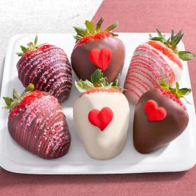 ACD1037, 6 Heartfelt Valentine Chocolate Covered Strawberries