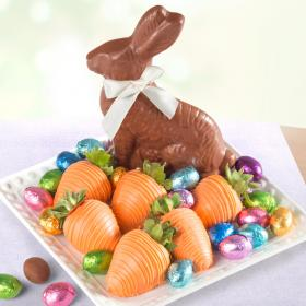 ACD2032, Chocolate Easter Bunny with Eggs and Chocolate Covered Strawberries - 6ct