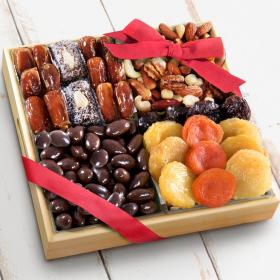 AP8007, Santa Cruz Dried Fruits with Savory and Chocolate Nuts in Wooden Tray