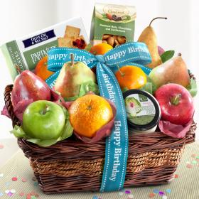 AP8019B, Birthday Fruit Basket with Cheese and Nuts