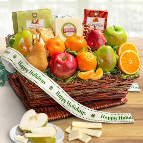 AP8019H, Happy Holidays Cheese and Nuts Classic Fruit Basket