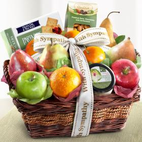 AP8019S, Sympathy Fruit Basket with Cheese and Nuts