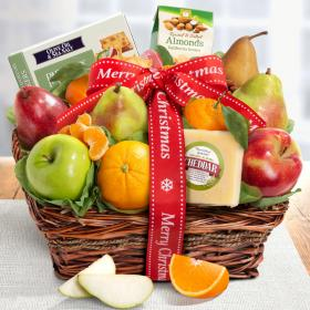 AP8019X, Merry Christmas Cheese and Nuts Classic Fruit Basket
