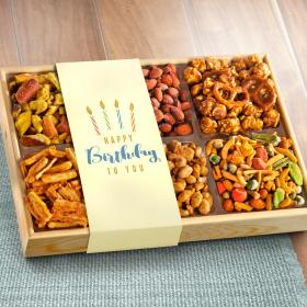 AP8029B, Happy Birthday Crunch 'n Munch Snack & Nut Variety Tray Gift Box