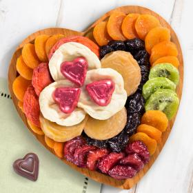 AP8032, Dried Fruit and Chocolate on Heart Bamboo Serving Tray
