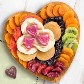 AP8032, Dried Fruit and Chocolates on Heart Bamboo Serving Tray