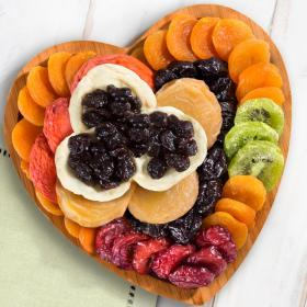 AP8032, Dried Fruit with Montmorency Cherries on Heart Bamboo Serving Tray