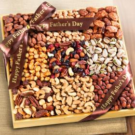 AP8054F, 3 Lb Nuts Extravaganza Gift in Wooden Tray with Father's Day Ribbon
