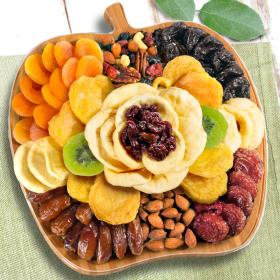 AP8055, Dried Fruit and Nuts on Bamboo Apple Shape Cutting Board Serving Tray