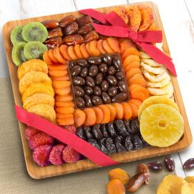 AP8065, Dried Fruit and Chocolate Covered Almonds on Bamboo Cutting Board Serving Tray