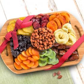 AP8075, Dried Fruit Assortment with Almonds on Bamboo Cutting Board Serving Tray with Handles