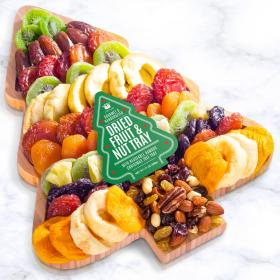 AP8090, Season's Greetings Dried Fruit and Nuts on Tree Shaped Bamboo Cutting Board