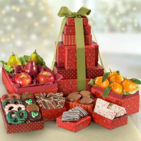 AT0240, Deluxe Christmas Fruit & Chocolate 7-Box Gift Tower