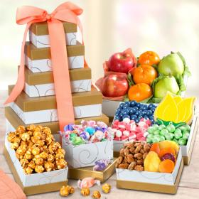 AT0245, Sunny Days Fresh Fruit and Gourmet Treats Gift Tower