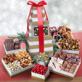 ATC0303, Festive Sharing Holiday Gourmet Treats Tower with Tin
