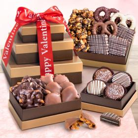 ATC0306V, Valentines Day Chocolate, Caramel and Crunch Gift Tower