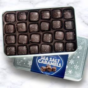 CY2040, Dark Chocolate Sea Salt Caramels Gift Tin