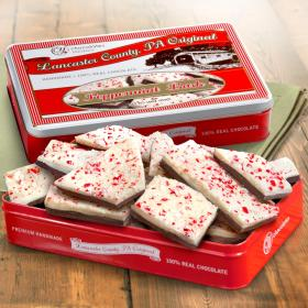 CY2100L, Handmade Layered Dark and White Chocolate Peppermint Bark in Signature Gift Tin