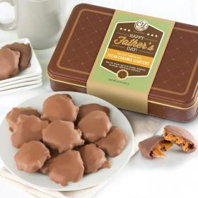 CY23000FI, Happy Father's Day Chocolate Caramel Pecan Clusters in Gift Tin