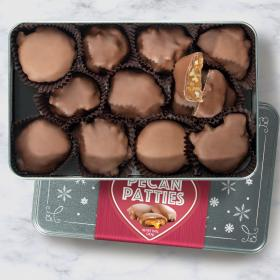 CY2310, Milk Chocolate Caramel Pecan Patties Gift Tin