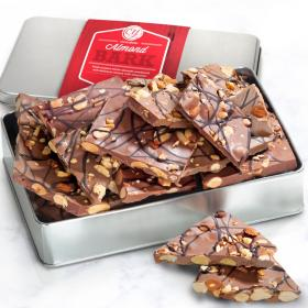 CY4120U, 1 lb. Milk Chocolate Almond Bark Gift Tin