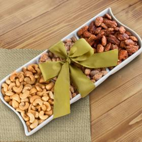 GC1007, Gourmet Artisan Nuts in Keepsake Ceramic Serving Tray