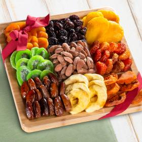 AP8075, Dried Fruit Assortment with Almonds on Bamboo Cutting Board Serving Tray