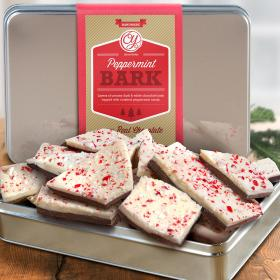 CY2100U, Handmade Layered Dark and White Chocolate Peppermint Bark in Gift Tin
