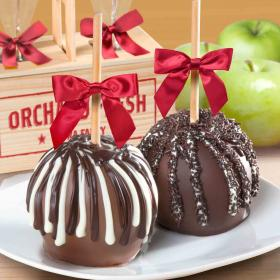 ACA1000, Milk and Dark Chocolate Covered Caramel Apples Pair in a Wooden Gift Crate