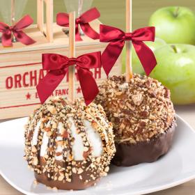 ACA1005, Nuts for Chocolate Covered Caramel Apples Pair in a Wooden Gift Crate