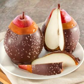 ACA1100, Chocolate Covered Caramel Dipped Pears Duo