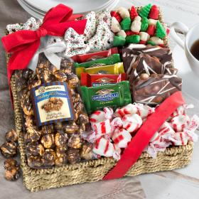 AG0002, Holiday Classic Chocolate, Candy and Crunch Gift Basket